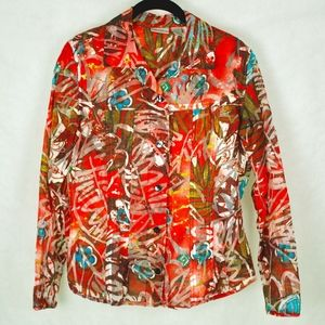 Chico's Semi-Sheer Red Buttoned Blouse
